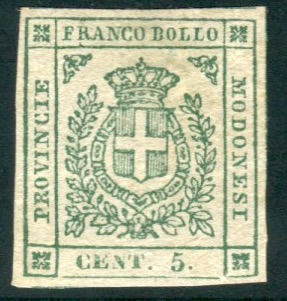 Modena 1859 - 5 cents emerald green Provisional Government - Sassone N. 12