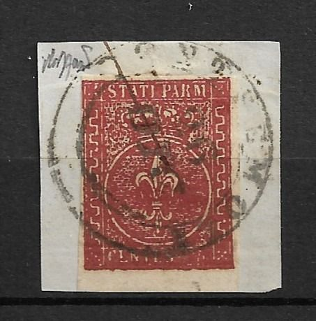 Italië 1855 - Ancient States - Parma 2nd issue 25 c. dark red brown, used on small fragment - Sassone Parma n. 8 a