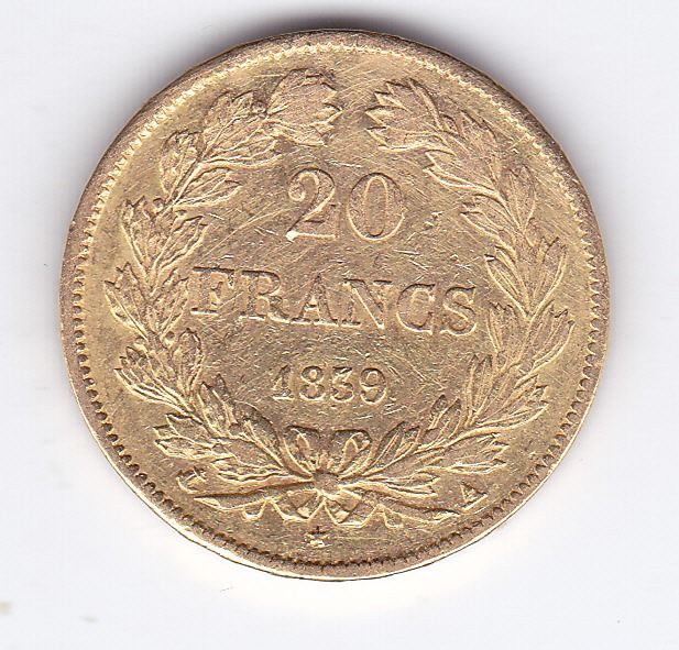 France - 20 francs 1839 A Louis Philippe I - Gold
