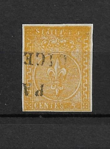 Italië 1853 - Ancient States - Parma 2nd issue 5 c. orange yellow, used - Sassone Parma n.6