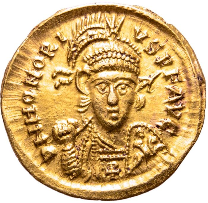 Empire romain - Solidus - Honorius (393-423 A.D.), Thessalonica mint,  403-408 A.D. CONCORDIA AVGGG. COMOB - Or