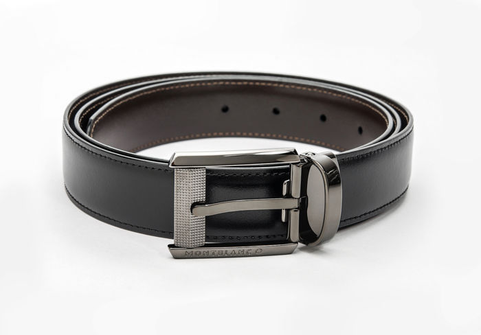Montblanc - Black/brown Contemporary Reversible Leather Belt (Ref. 38163) Belt