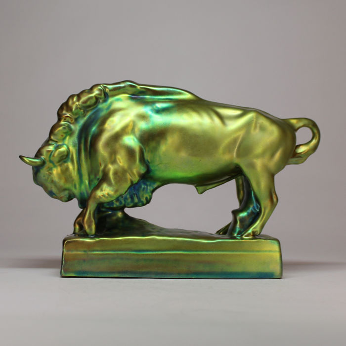 Zsolnay - Multicolor Eosin - Art Deco Bison