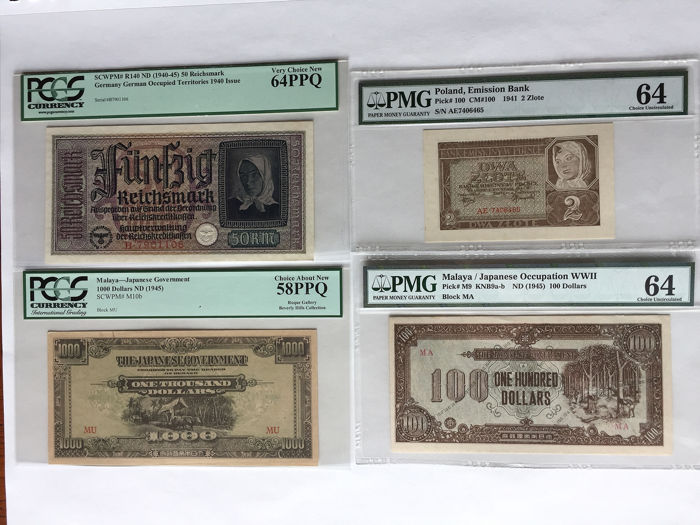 Wereld - 12 banknotes - including 4 graded banknotes WWII