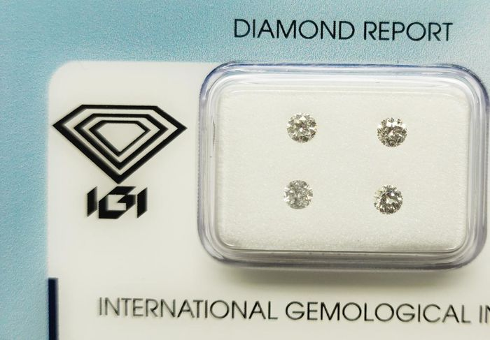 4 pcs Diamantes - 0.38 ct - Redondo - F-G - I1