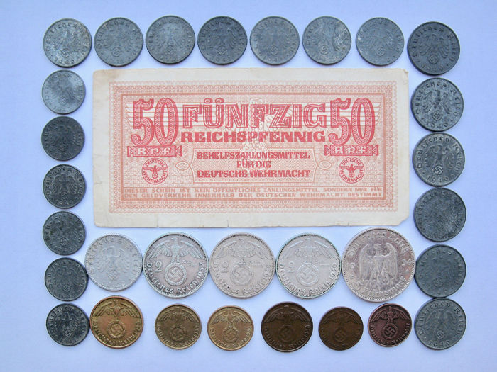 Duitsland Derde Rijk - Pfennig till 5 Mark + Wehrmacht Banknote 1934/1944 - 31 different including silver