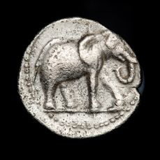 Ancient Spain - Carthaginian occupation, mobile mint travelling with troops in Southern Spain during II Punic War (218-210 B.C.), silver quarter of shekel (1,74 g. 13 mm.) Elephant. Very rare.