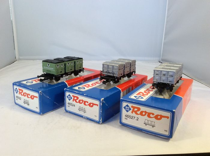 "Roco H0 - 46522/-24/-27.2 - Freight carriage - 3 freight wagons with containers ""von Haus zu Haus"" - (4506) - DB"