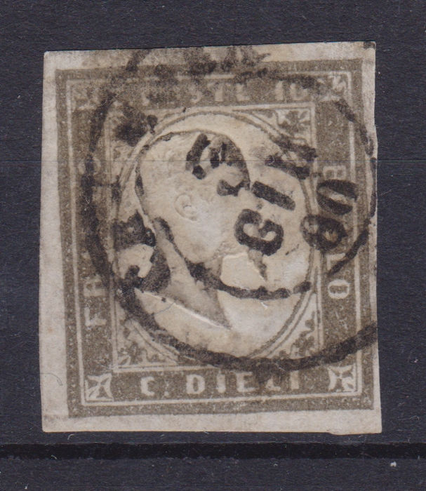 Sardinië 1858/1863 - 10 cents greyish black, 1860 issue - Sassone N. 14Bc