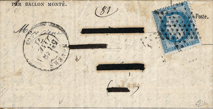 Frankrijk 1870 - Very rare letter smuggled during the Siege of Paris by Barthé - Yvert 29