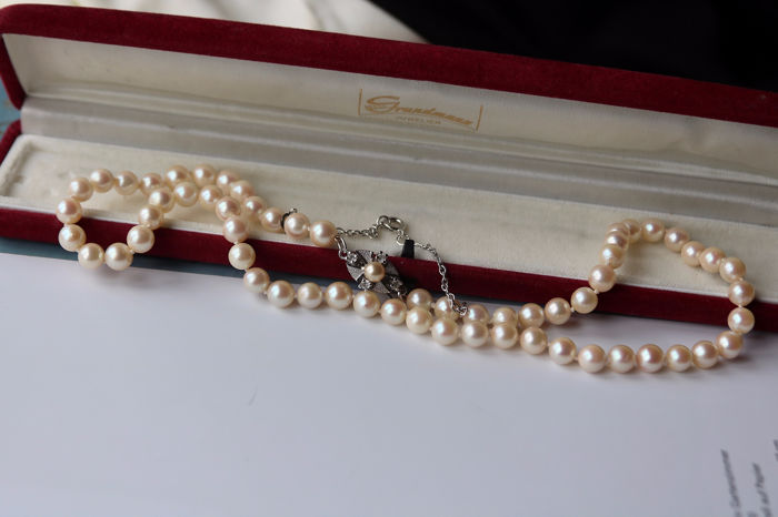 925 Akoya pearls, Silver - Necklace, NO Reserve - Safety chain- 0.10 ct Quartz Jewellery for sale
