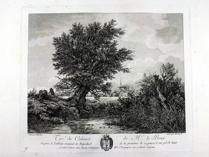 3 Large folio Landscape engravings of the Dutch Golden Age - Salomon van Ruysdael 1602-1680; Nicolaes Berchem 1620-1683; Philips Wouwerman (1619-1668) - 1779