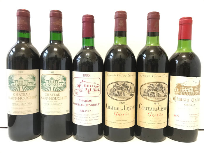 Mixed lot -  Mixed Pessac-Léognan & Graves Mixed vintages 2x 1989, 1x 1985 , 3x 1979 (See description) - Graves, Pessac-Léognan - 6 Bottles (0.75L)
