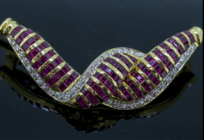 18 kt. Yellow gold - Brooch - 2.05 ct Ruby