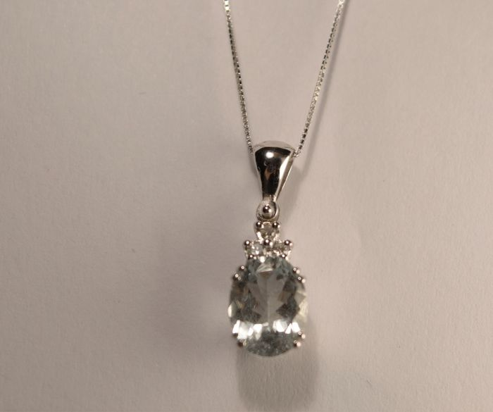 18 kt. White gold - Pendant - 1.39 ct Acquamarina - Diamonds
