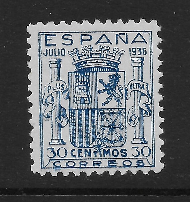 Spanje 1936 - Coat of arms of Spain. Granada emission. Well centred. Comex certificate. - Edifil 801