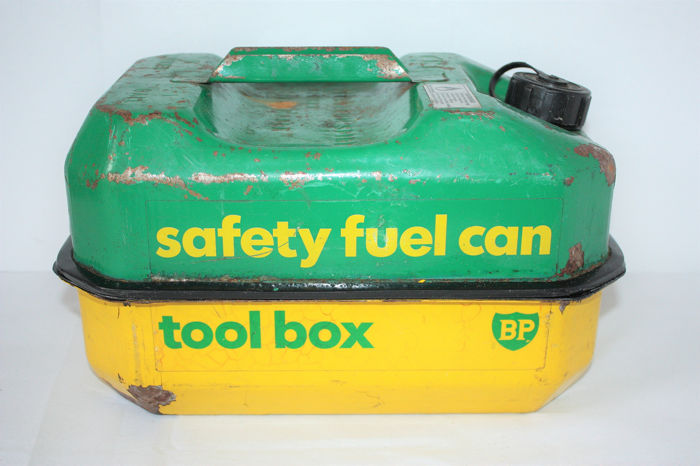 BP safety fuel can/ tool box - 1970