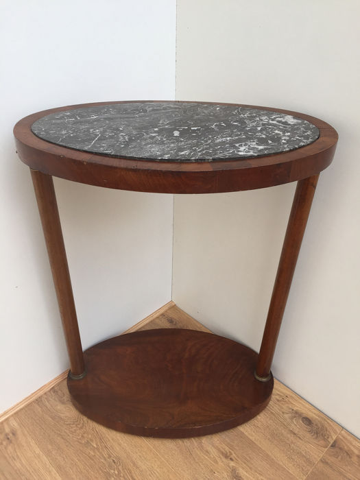 Oval flower table or side table - Empire Style - Bronze, Mahogany, Marble - Second half for sale