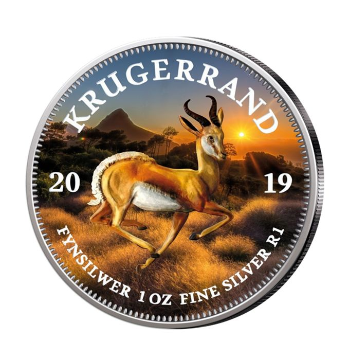 South Africa - Krugerrand 2019 - Springbock- coloured - 1 Oz - Silver