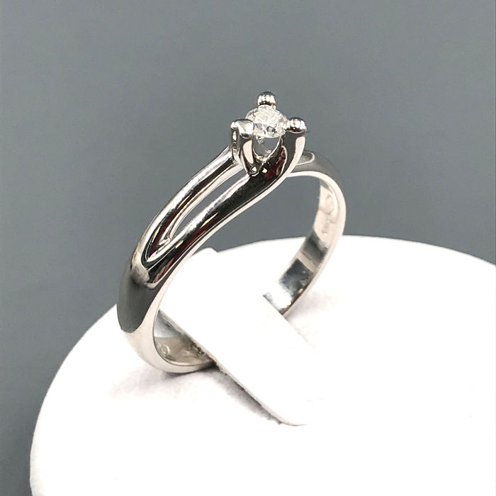 Comete - 18 quilates Oro blanco - Anillo - 0.10 ct Diamante