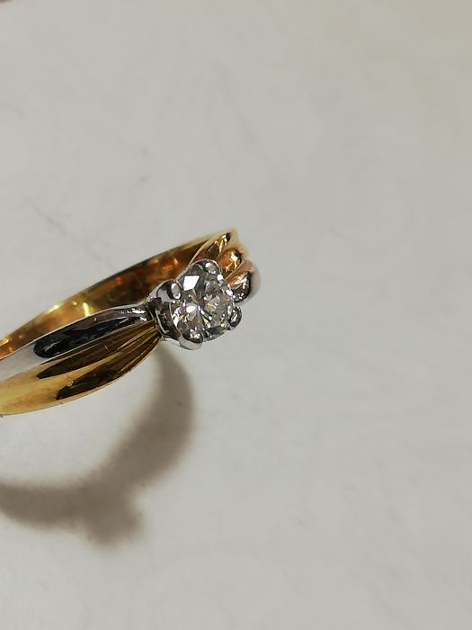 Zanutto - 18 kt. White gold, Yellow gold - Ring - 0.27 ct Diamond
