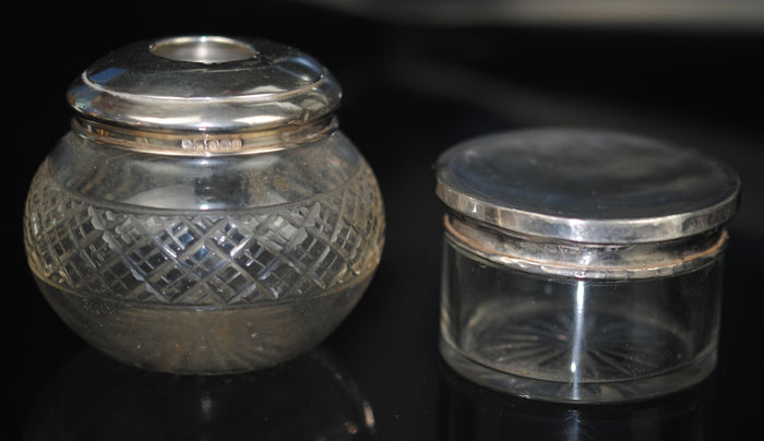 Hallmarked Dressing Containers - Glass, Silver