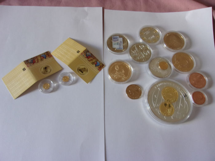2 x 0,5 grammes 999/1000 24 carats egypte & a lot of coins medals - Goud