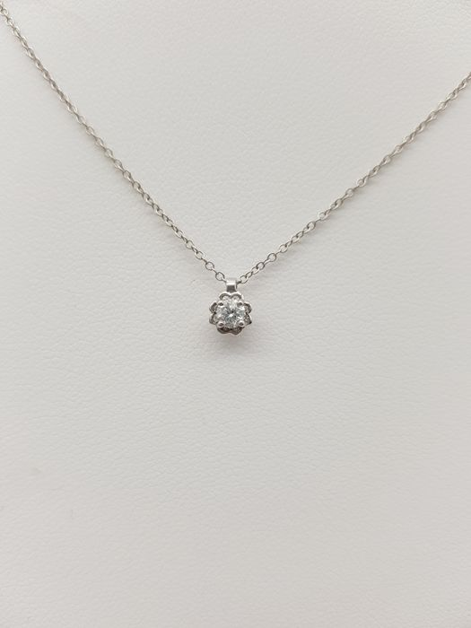 18 kt. White gold - Necklace, Necklace with pendant - 0.12 ct Diamond