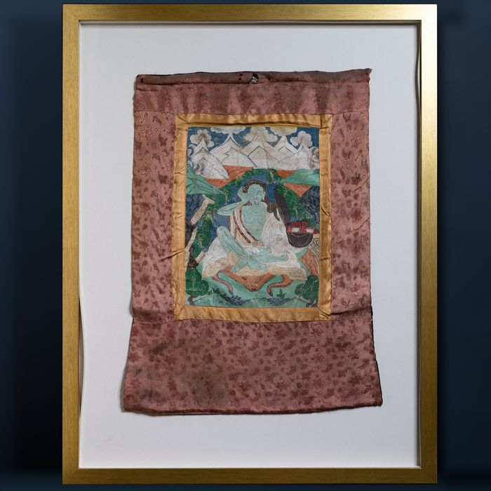 Thangka - Canvas - Small Thangka, polychomy on canvas with golden highlights depicting Milarepa - Tibet - 19e eeuw