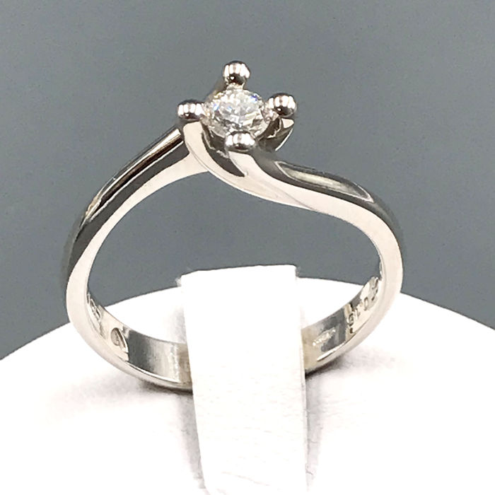 Comete - 18 quilates Oro blanco - Anillo - 0.15 ct Diamante