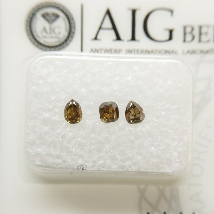 3 pcs Diamonds - 0.39 ct - Pară, Perniță - mixed colors - SI-I1