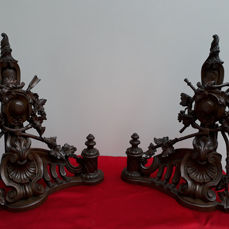 Andirons in richly ornamented bronze - Louis XVI Style - Second half 19th century