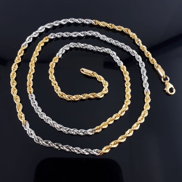 14 kt. White gold, Yellow gold - Ladie's Rope Necklace  55cm