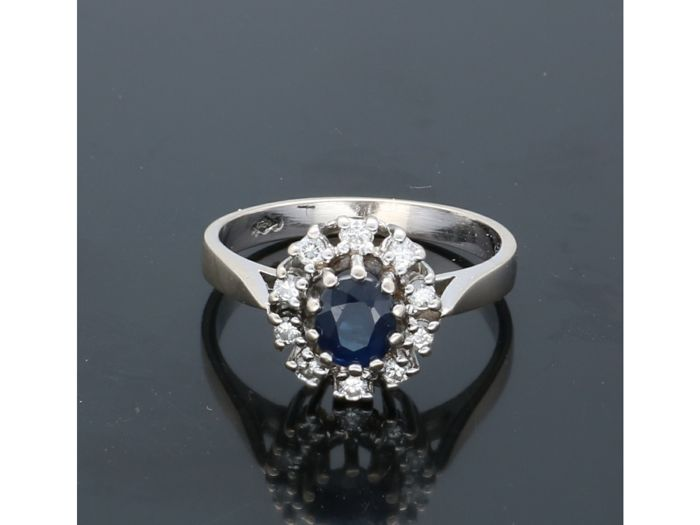 18 carats Or blanc - Bague Saphir - Diamants