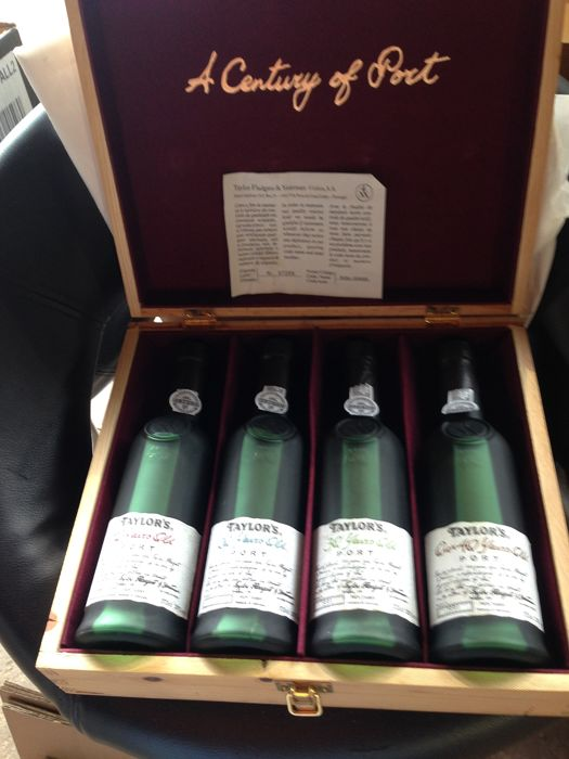 """Taylor's Aged Tawny Gift Box """"A Century Of Port"""": Over 40 & 30 & 20 & 10 years old - 4 Half Bottles (0.375L)"""