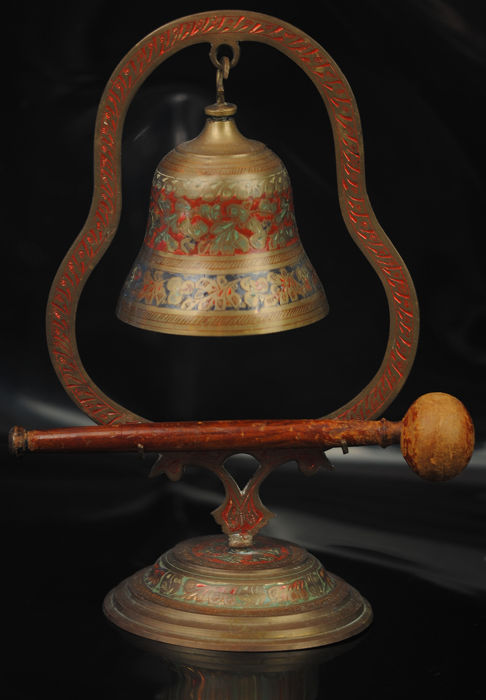Cold-Painted Table Bell - Brass, Wood
