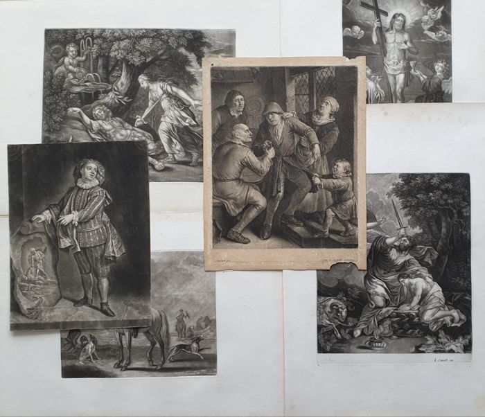 6x Jacob Gole (* 1660 in Amsterdam, † 1737)  - Collection Mezzotint prints - see description for more details