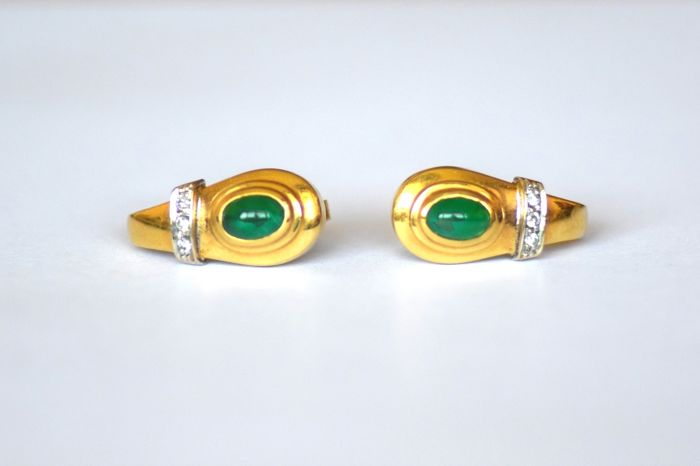 18 kt. Yellow gold - Earrings Emerald - Diamonds