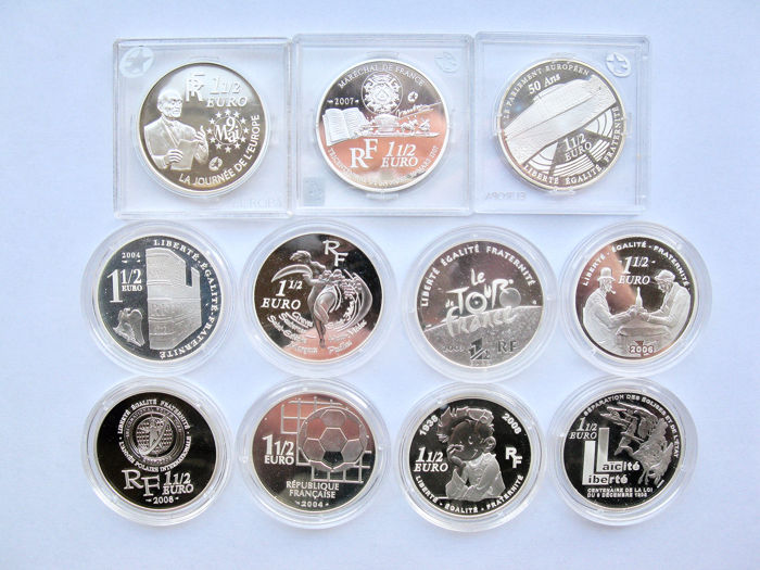 Francia - 11x 1½  Euro  2003/2008 - 11 different coins - Argento