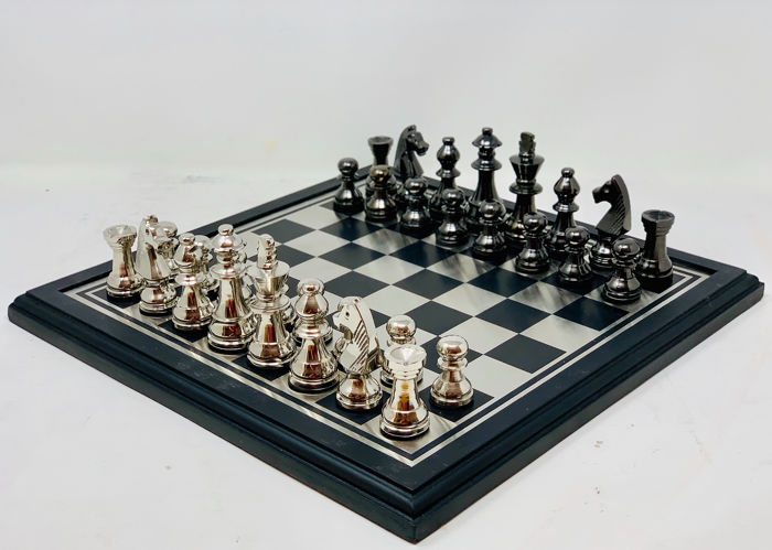 Staunton Chess with Board - Steel (stainless), Wood