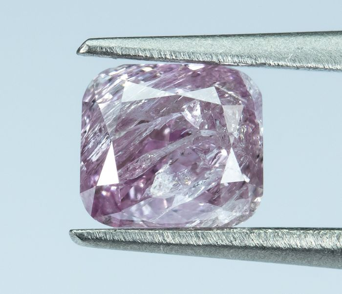 Diamante - 0.42 ct - Rosa purpurina de lujo natural - I3  *NO RESERVE*