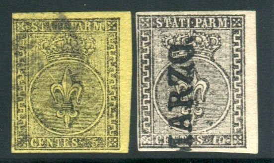 Parma 1852 - 5 and 10 cents 1st issue, both with sheet margin - Sassone NN. 1 e 2
