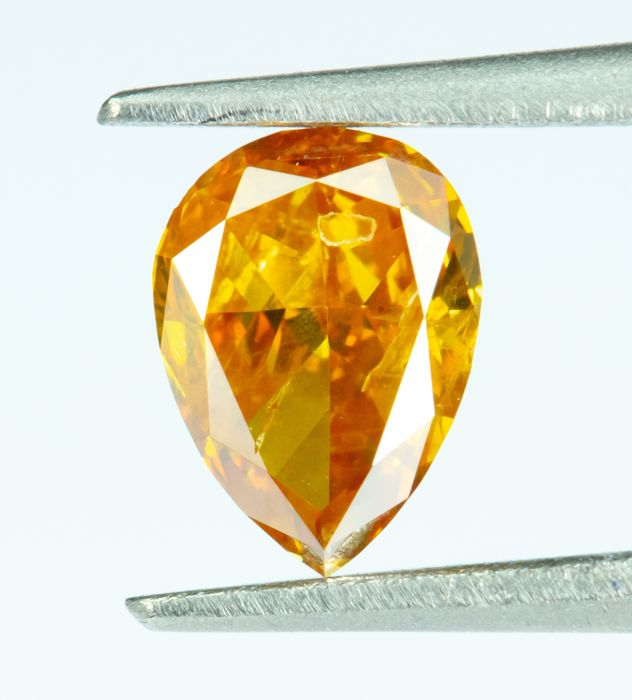 Diamant - 0.27 ct - Natural Fancy INTENSE Orangy Yellow - SI2  *NO RESERVE*