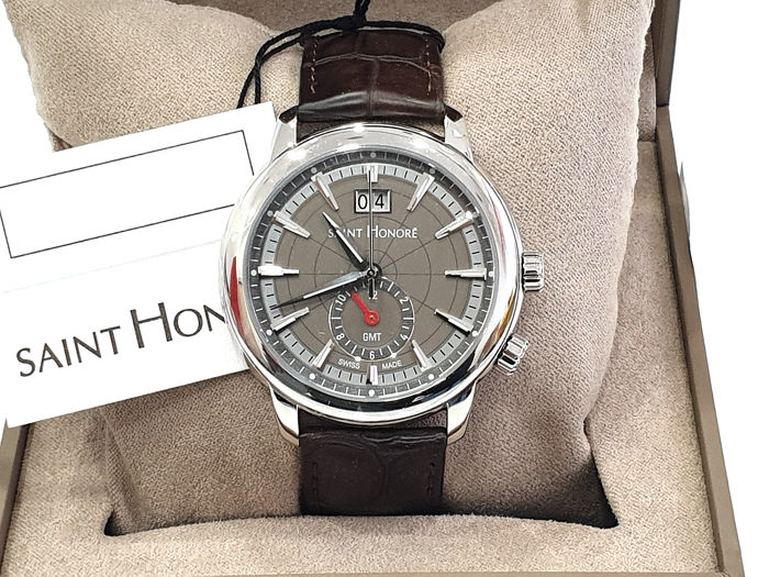 """Saint Honorè - """" NO RESERVE PRICE """" ORSAY GMT - Brown Leather Strap -  8670401GIN - Swiss Made - Brown Dial & Date - Heren - 2011-heden"""