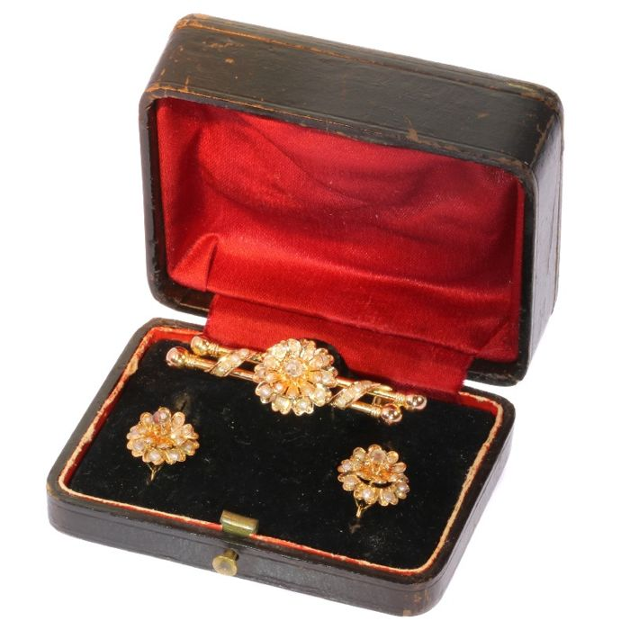 18 kt. Gold - Antique jewellery set - anno 1870 - , Brooch, Earrings Diamond - Pearls