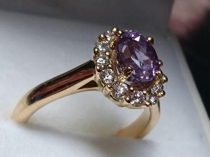 Hand crafted by parisian goldsmith - 18 kt. Gold, Yellow gold - Ring - 2.10 ct Sapphire - Diamonds