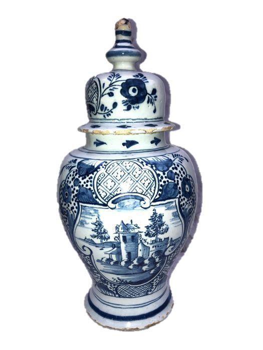 Vase with lid - Delft pottery