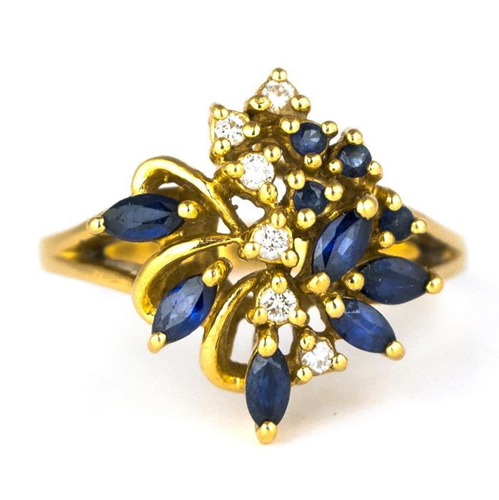 18 carats Or jaune - Bague Saphir - Diamants