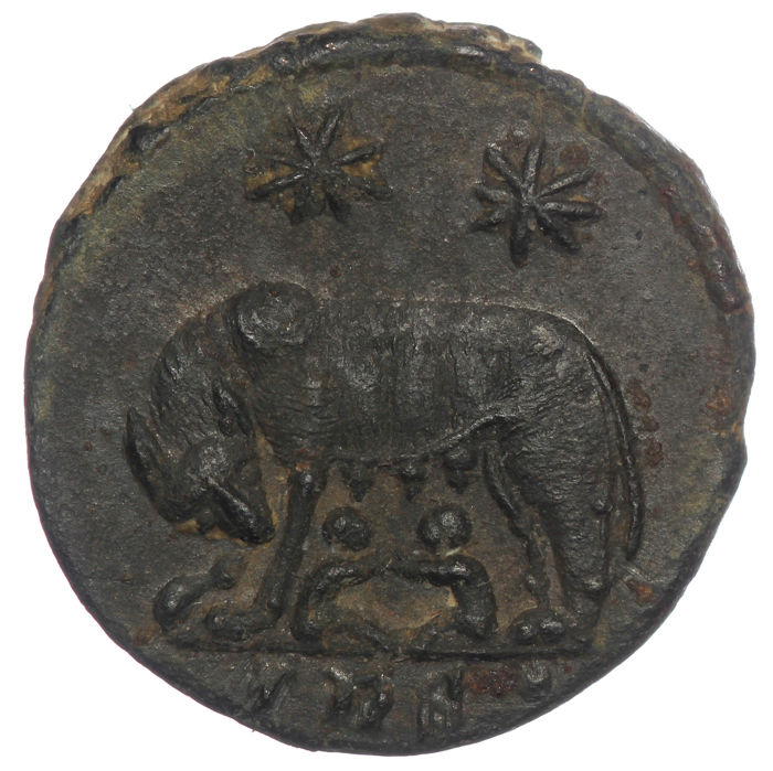 Romeinse Rijk -  Urbs Roma AE Follis, Constantine I the Great (307-337 AD) - She wolf & twins