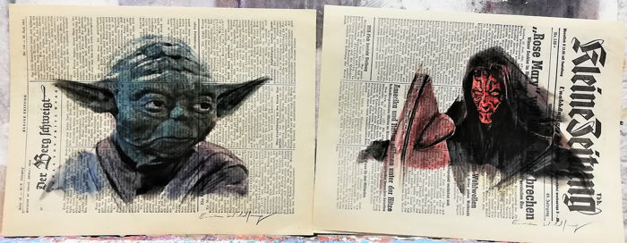 YODA and DARTH MAUL - Star Wars - 2 Original artworks on a newspaper from 1952 - Eerste druk - (2019)